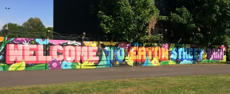 Mural wall Welcome to Eaton Street Park